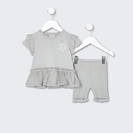 Mini girls khaki peplum frill outfit