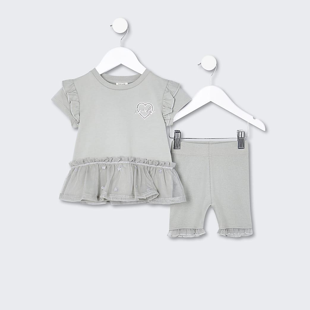 Mini girls khaki peplum frill outfit