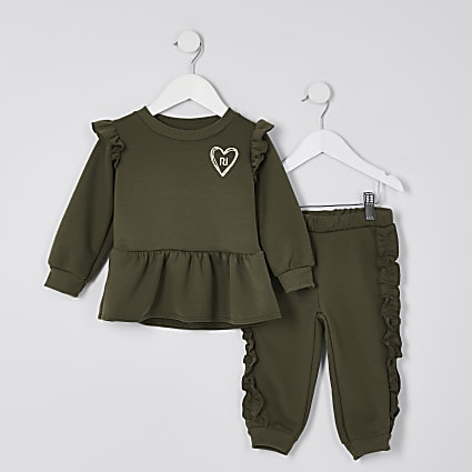 Mini girls khaki peplum sweatshirt outfit