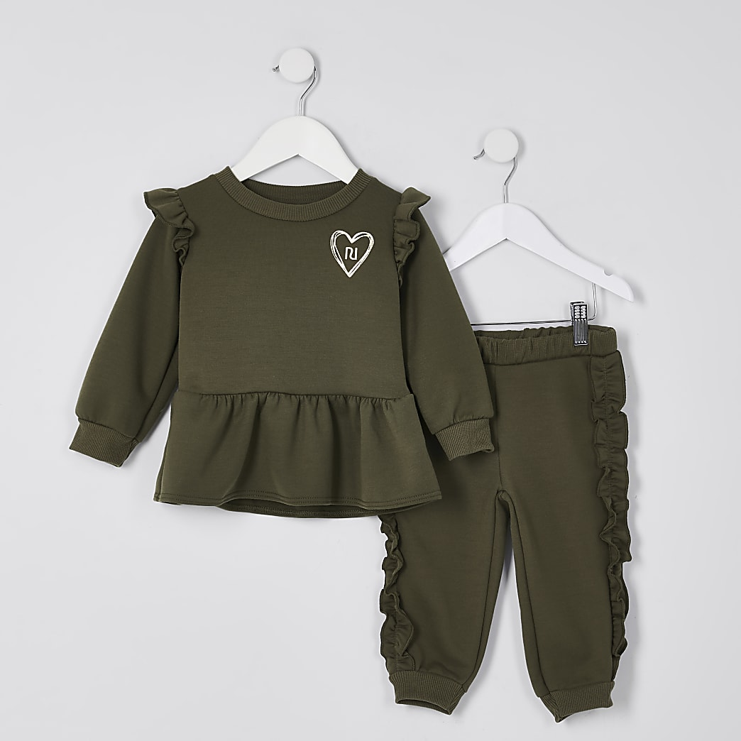 Mini girls khaki peplum sweatshirt outfit