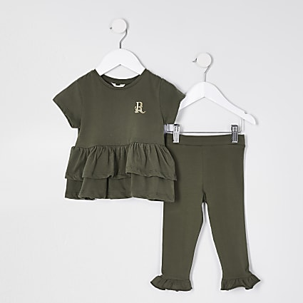 Mini girls khaki peplum t-shirt outfit