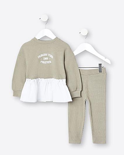 Mini girls khaki peplum top and leggings set