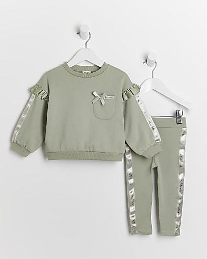Mini girls khaki RI frill sweatshirt outfit