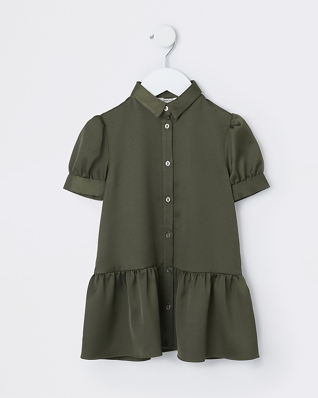 Mini girls khaki satin shirt dress