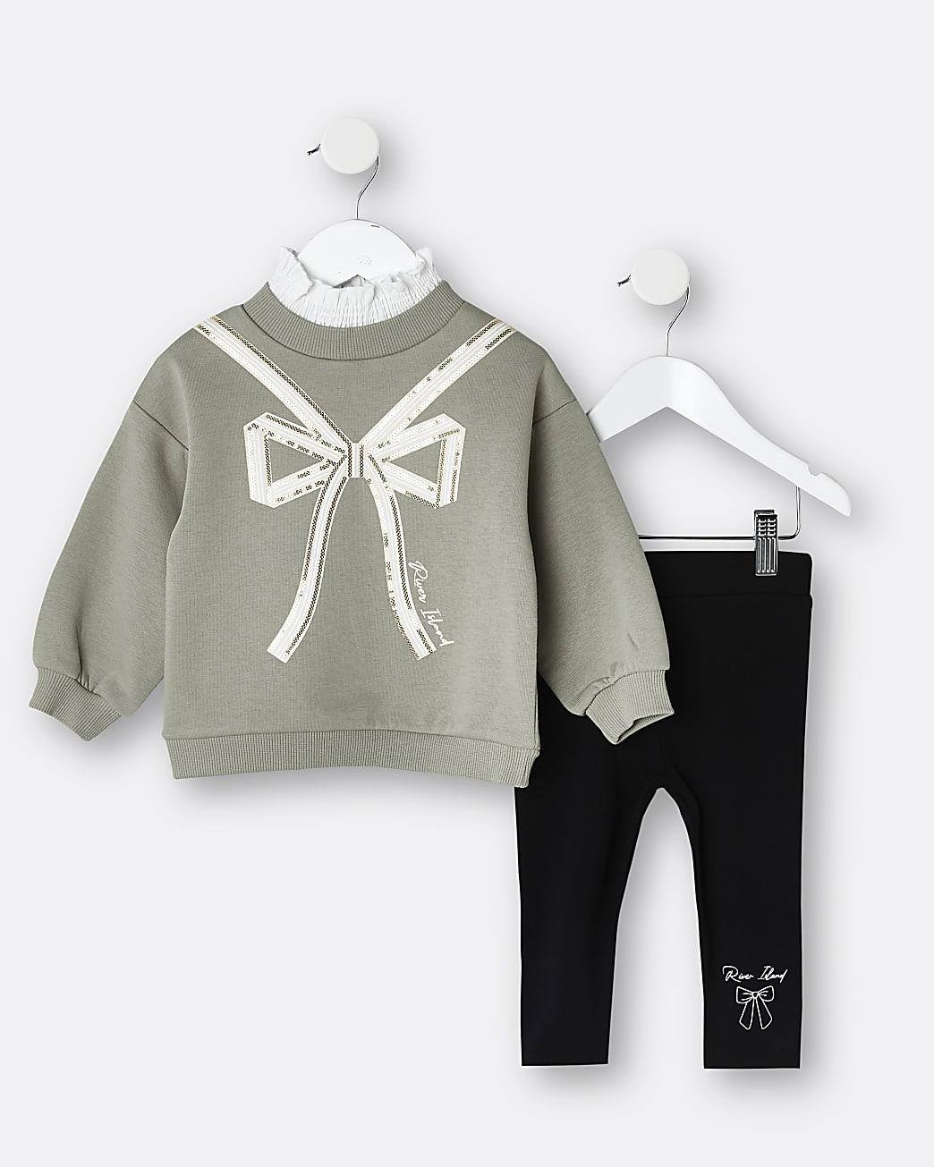 Mini Girls khaki sequin bow sweatshirt outfit