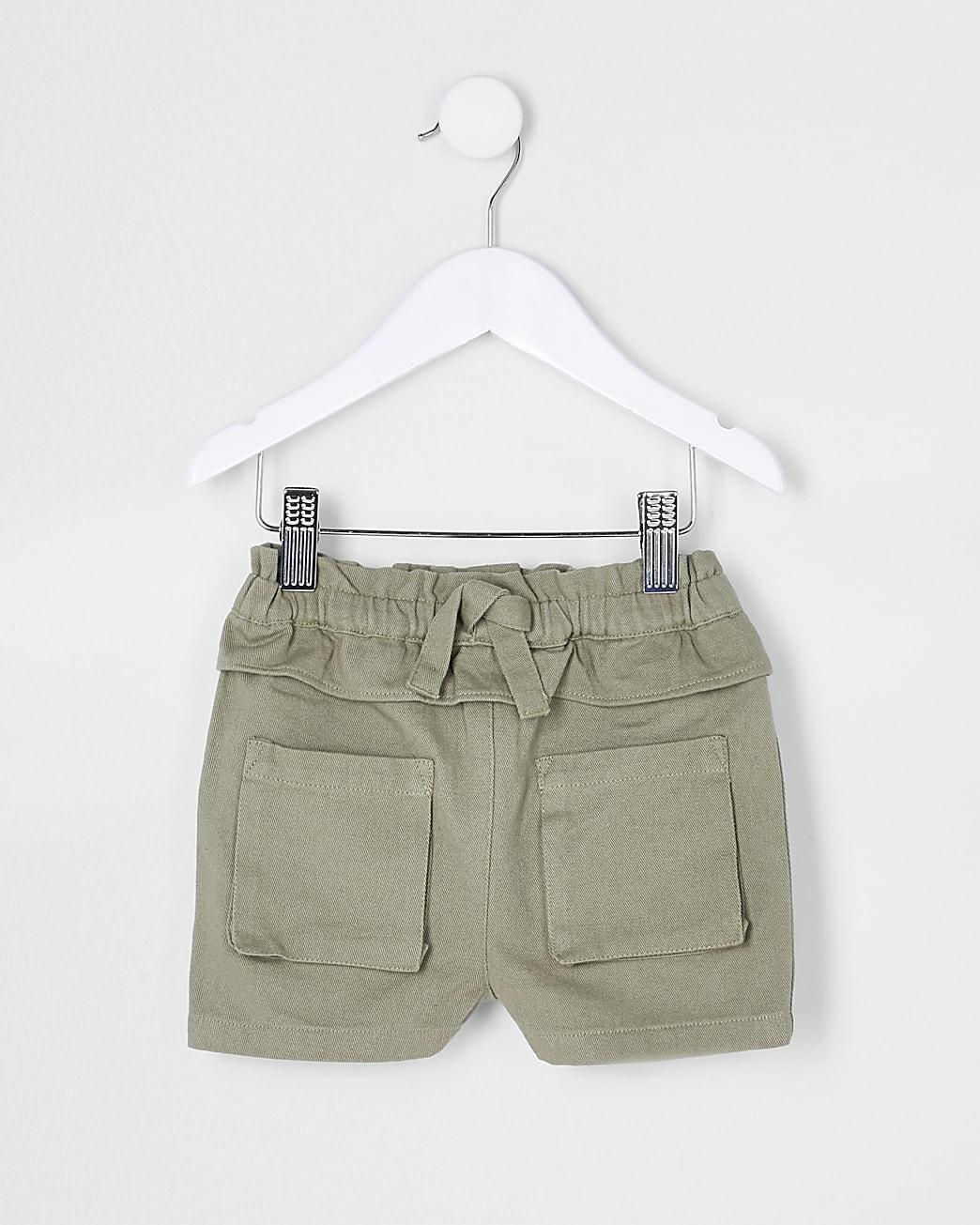 Mini girls khaki tie front shorts