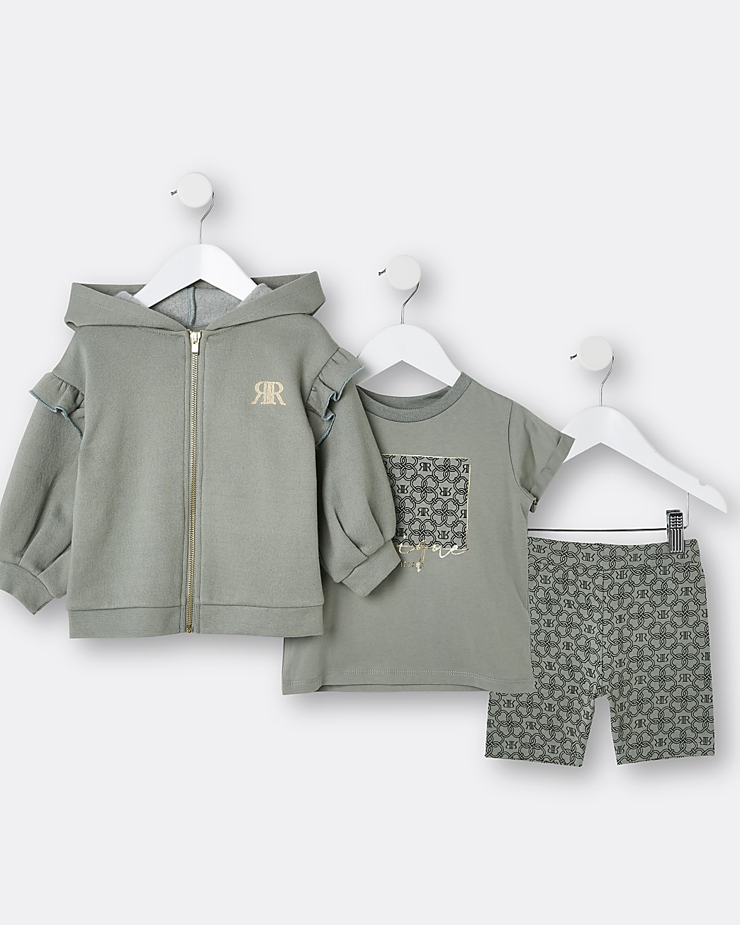 Mini girls khaki 'Unique' RI 3 piece outfit