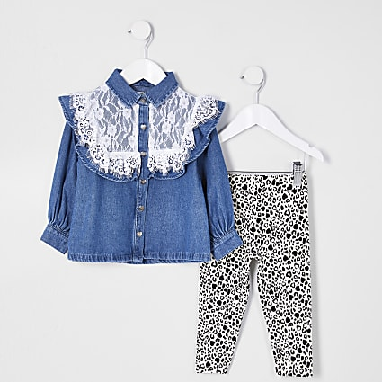 Mini girls lace denim shirt outfit