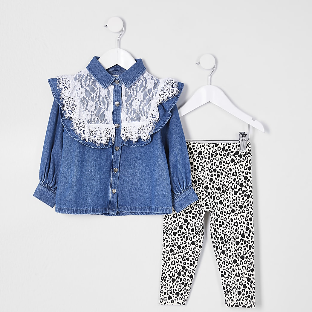 Mini girls lace denim shirt outfit