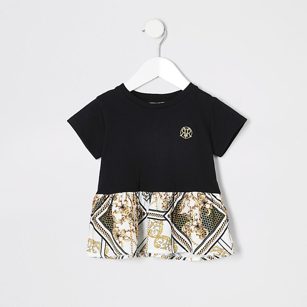 Mini - T-shirt met peplum en barokprint voor meisjes