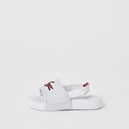 Mini girls Lacoste white logo sliders