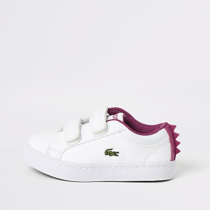 Mini girls Lacoste white monster trainers