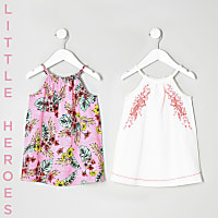 Mini girls leaf print trapeze dress two pack