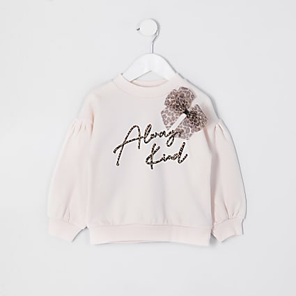 Mini girls leopard bow always kind sweatshirt