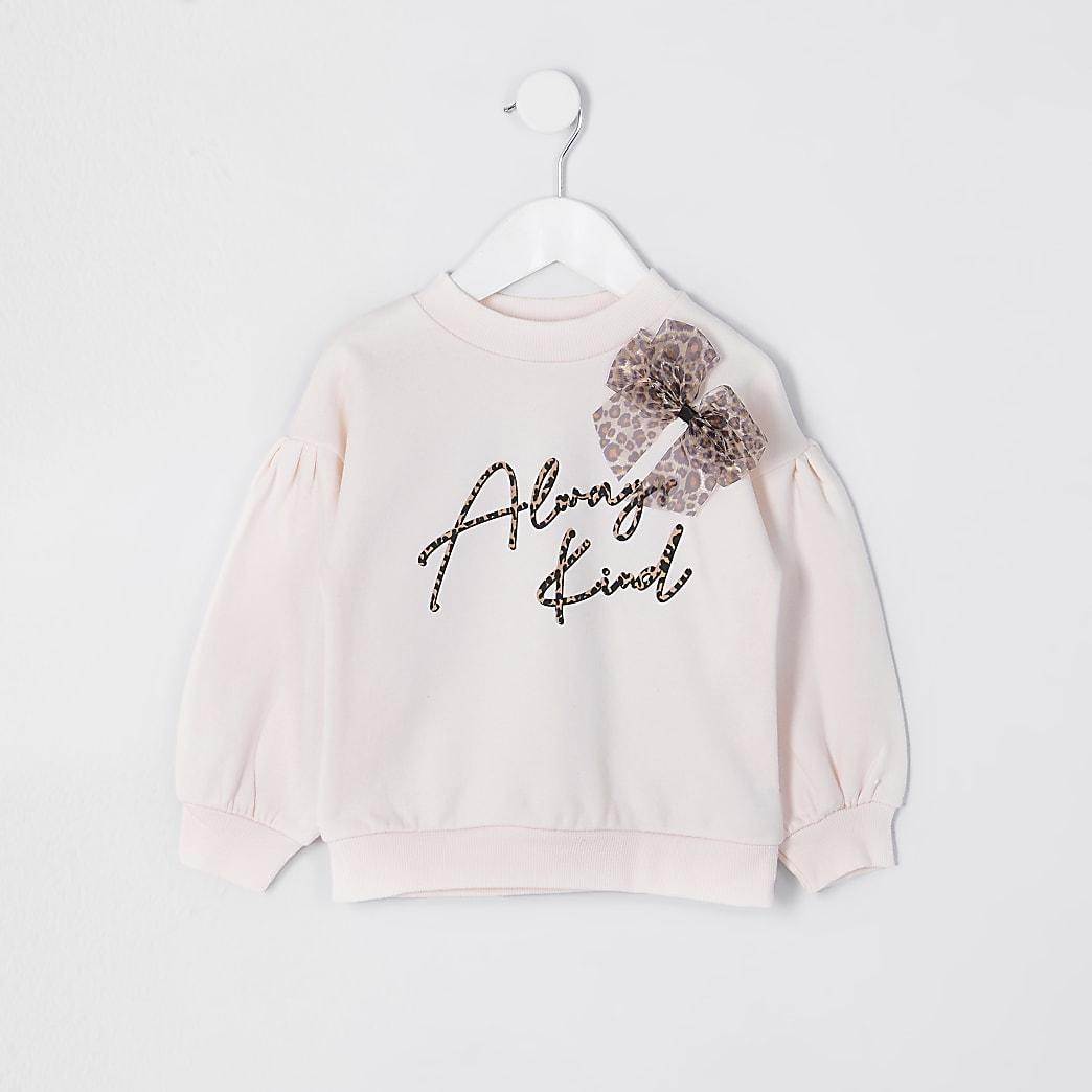 Mini girls leopard bow always kind sweatshirt