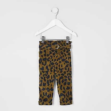 Mini girls leopard cord paperbag trousers