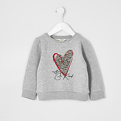 Mini girls leopard heart print sweatshirt