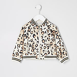 Mini girls leopard print bomber jacket