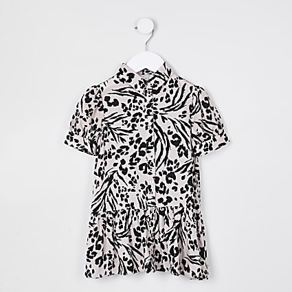 Mini girls leopard print shirt dress