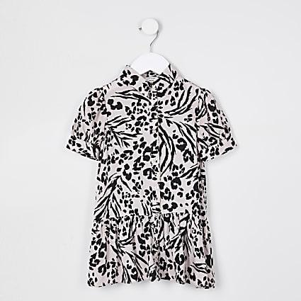 Mini girls leopard print shirt dress