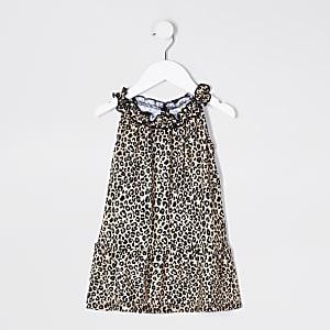 Mini Girls Leopard Print Trapeze Dress