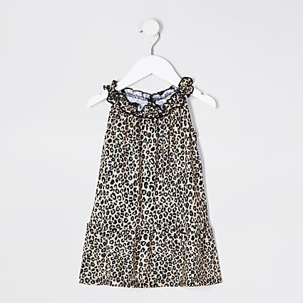 Mini Girls Leopard Print Trapeze Dress