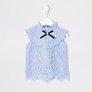 Top bleu clair en dentelle avec volants Mini fille