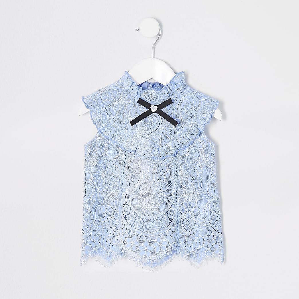 Mini girls light blue lace frill top