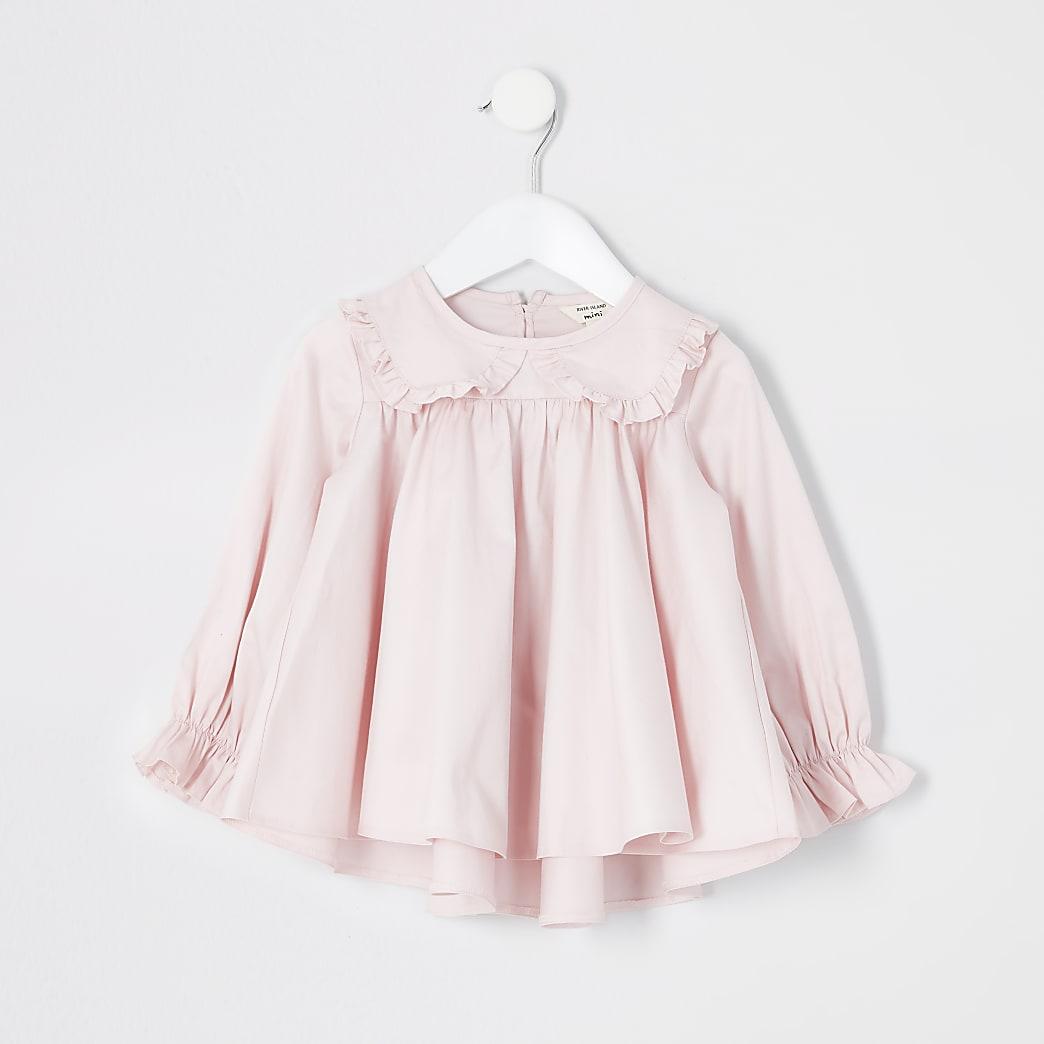 Mini girls light pink frill collar blouse
