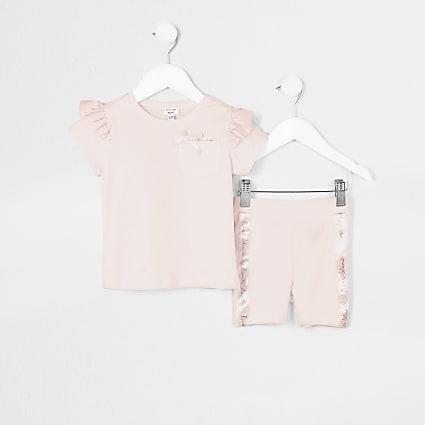 Mini girls light pink frill t-shirt outfit