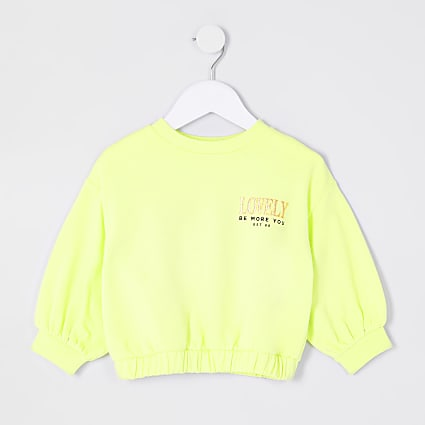 Mini girls lime 'lovely' sweatshirt