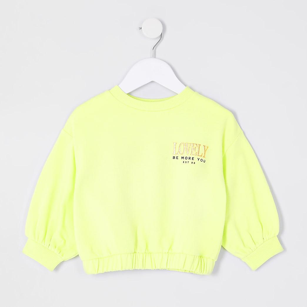 Mini girls lime 'lovely' sweatshirt