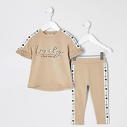Mini girls 'Lovely' tape T-shirt outfit