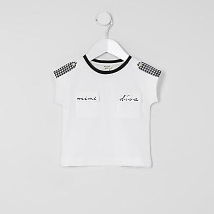 Mini girls 'Mini Diva' dogtooth check T-shirt