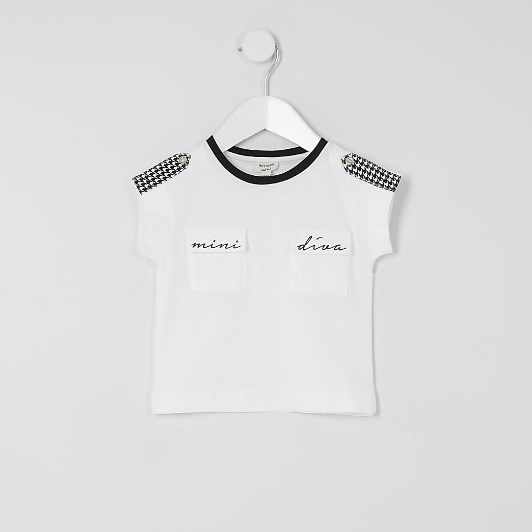 Mini - T-shirt met 'Mini Diva'-tekst en geruite pied-de-poule-vlakken voor meisjes