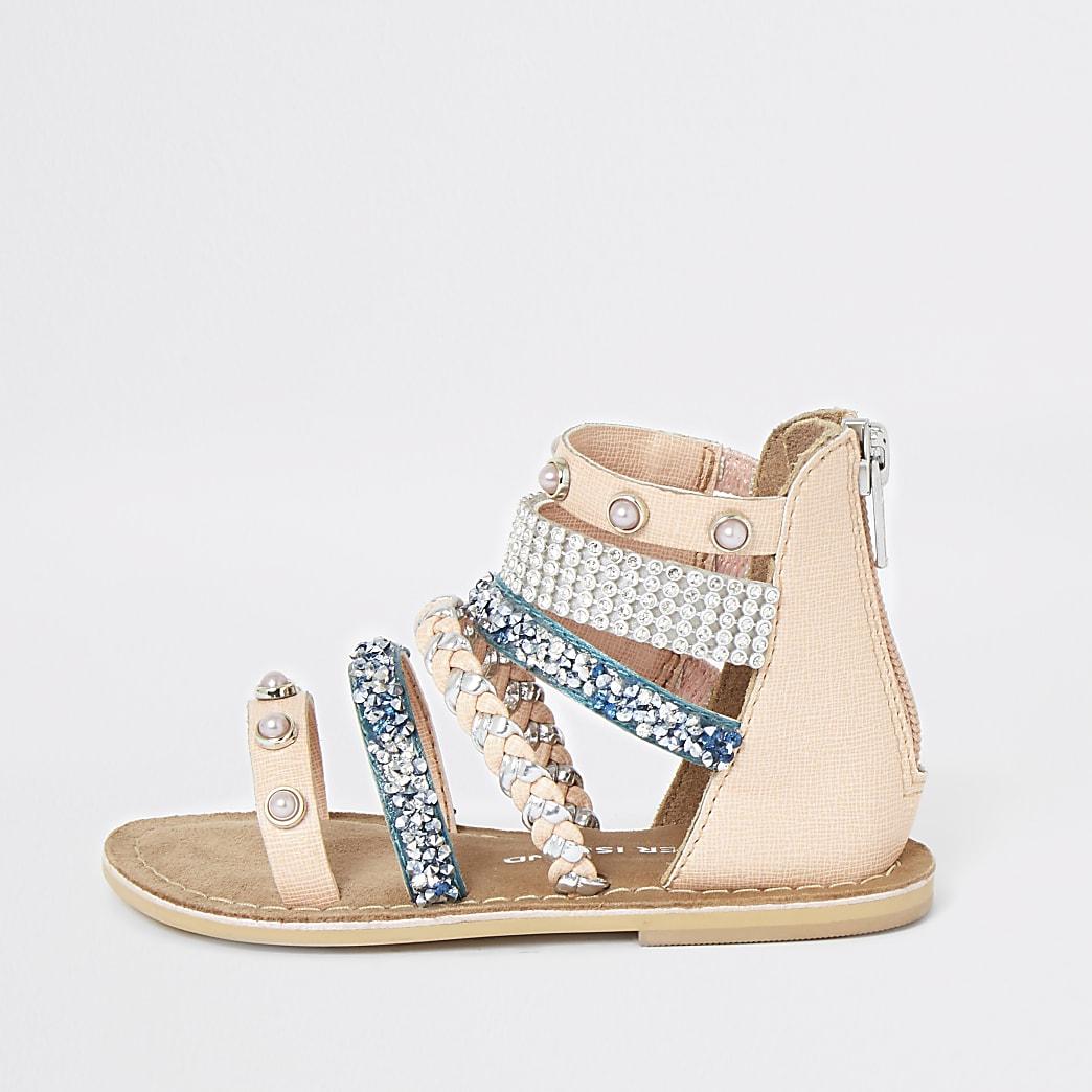 Mini -Verfraaide sandalen met meerdere bandjes voor meisjes