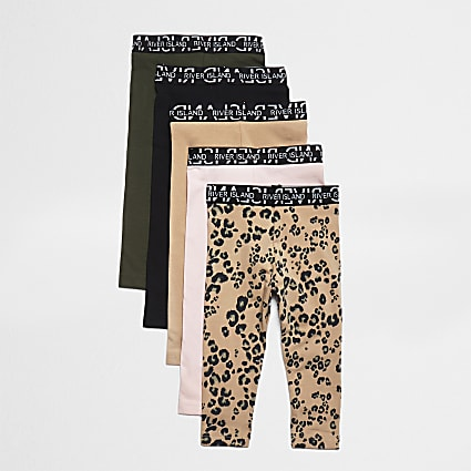 Mini girls natural leopard leggings 5 pack
