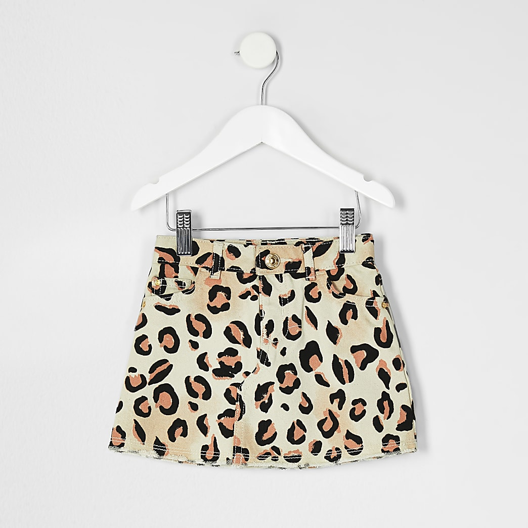 Mini girls natural leopard print denim skirt