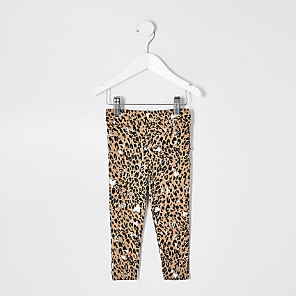 Mini girls natural leopard ruffle leggings