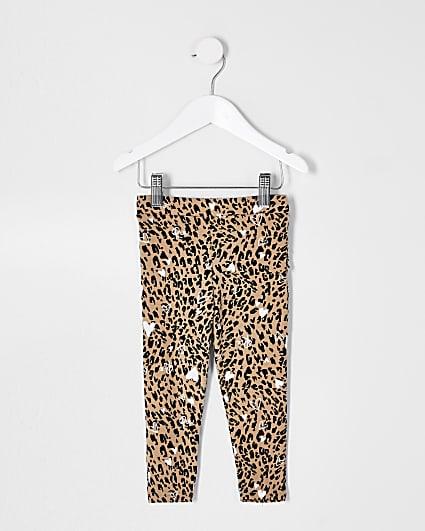 Mini girls natural leopard ruffle leggings