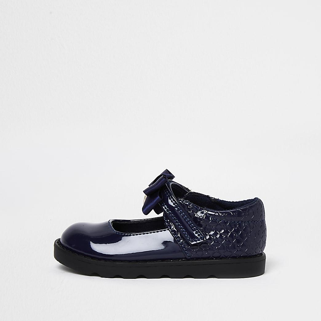 Mini girls navy bow RI embossed shoes