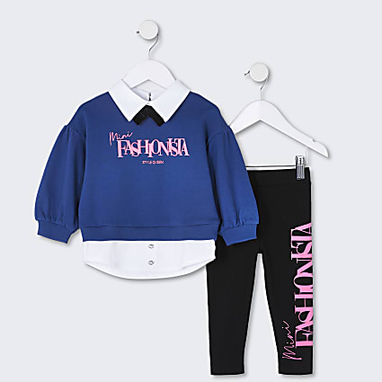 Mini girls navy 'fashionista' sweatshirt set