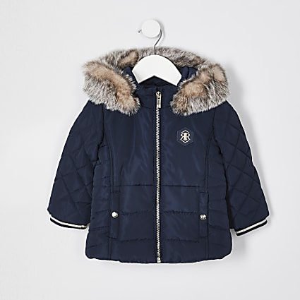 Mini girls navy matte puffer coat