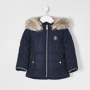 Mini girls navy padded faux fur hood coat