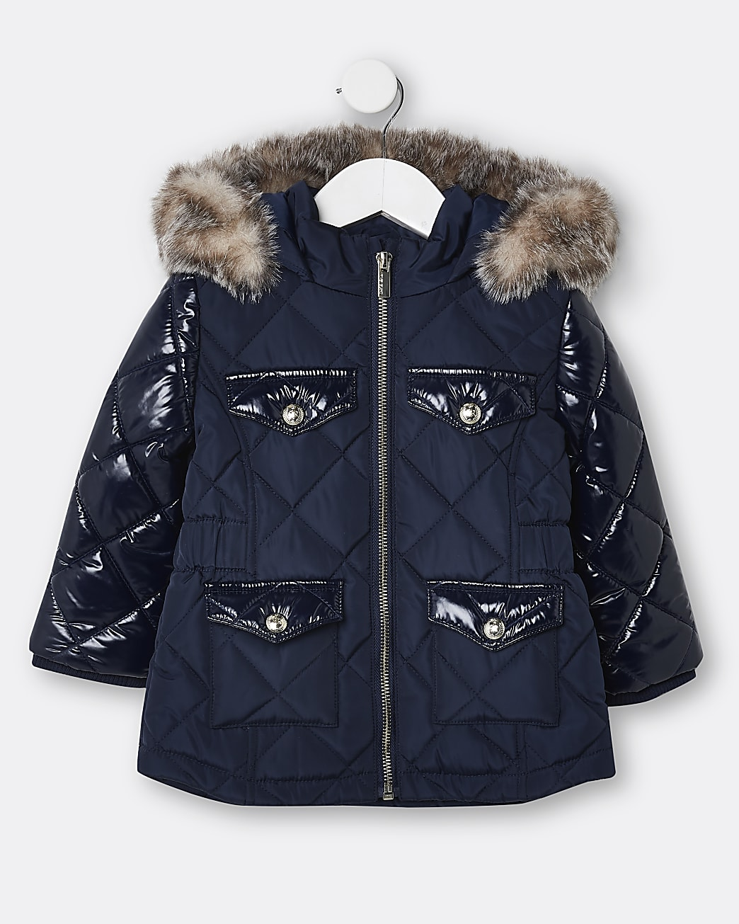 Mini girls navy quilted puffer coat