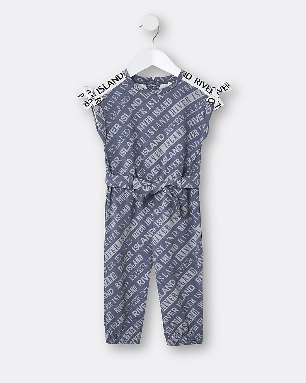 Mini girls navy RI monogram print jumpsuit