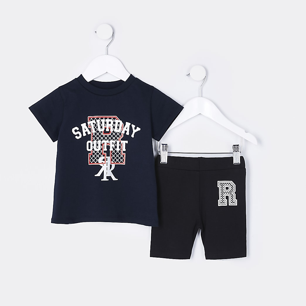Mini girls navy 'Saturday Outfit' set