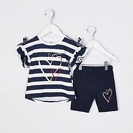 Mini girls navy stripe frill t-shirt outfit