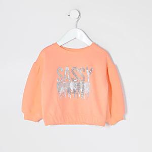 Mini - Neon koraalrode sweater met 'Sassy'-print voor meisjes