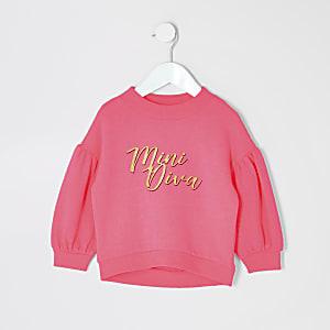 Mini - Neonroze sweatshirt met'Mini Diva'-print voor meisjes
